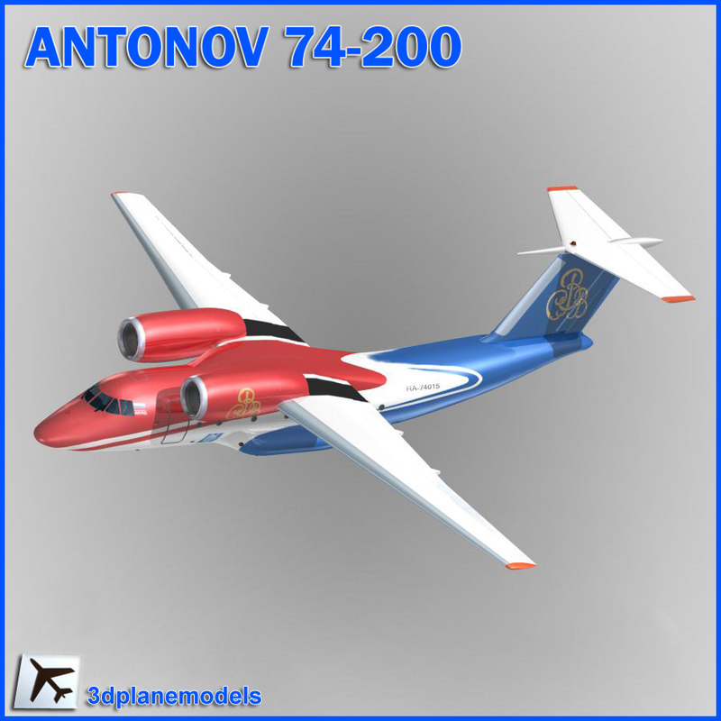 antonov aircraft 74-200 3d max
