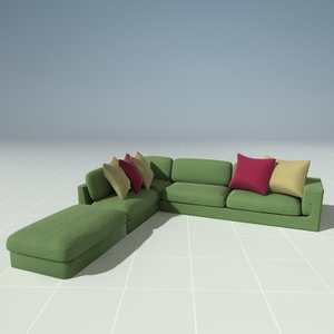 3d model plush sectional couch