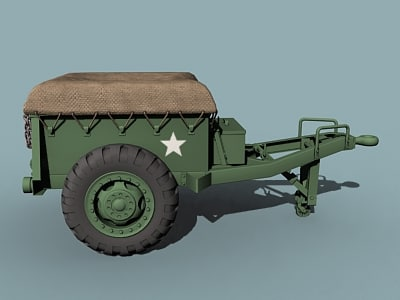 3d wwii m10 ammo trailer