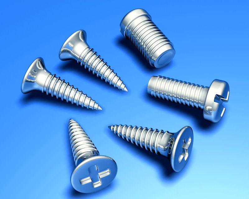 screws metal wood 3d max
