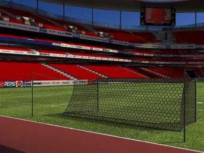 3d soccer stadium field model