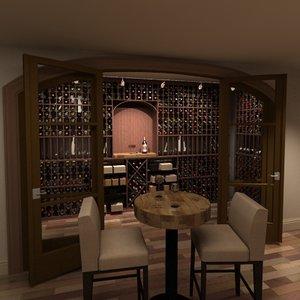 3d wine cellar wood floor model