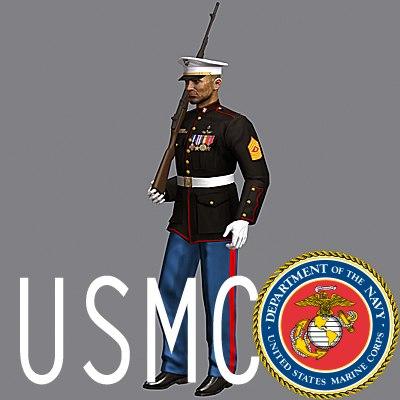 3d usmc soldier dress uniform model