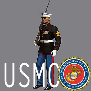 3d usmc soldier dress uniform model