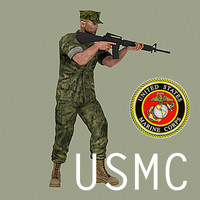 USMC soldier (combat utility uniform) with M16A3 rifle MAX
