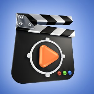rounded cartoon clapboard 3d model