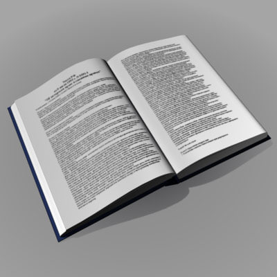 3d simple opened book model