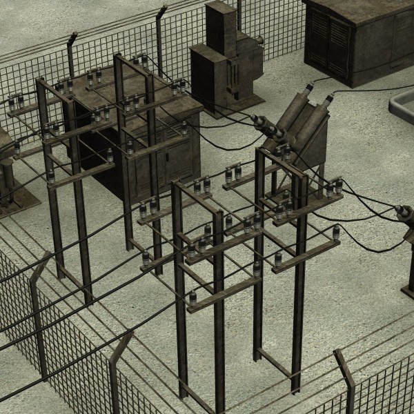 substation buildings 3d model