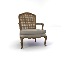 Antique Style French Rattan Back Armchair