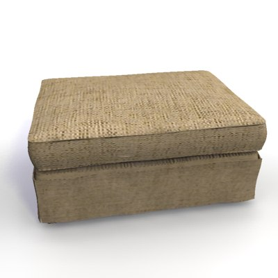 3d model cream colour fabric upholtered
