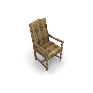 upholstered carver chair 3d model