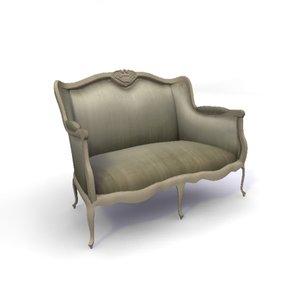 3ds max versailles 2-seater sofa