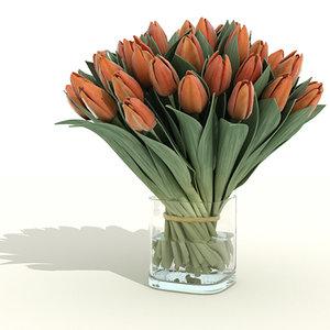 3d bunch tulips