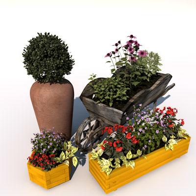 obj decorate garden flower