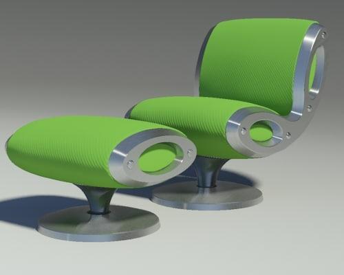 gluon armchair pouf 3d dwg