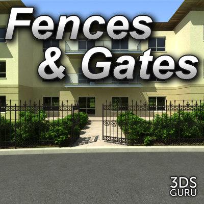 3d model iron fences gates