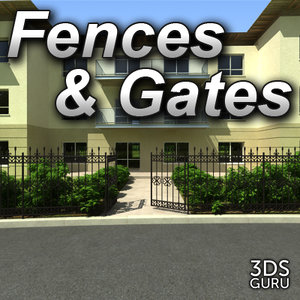 3d model iron fences gates