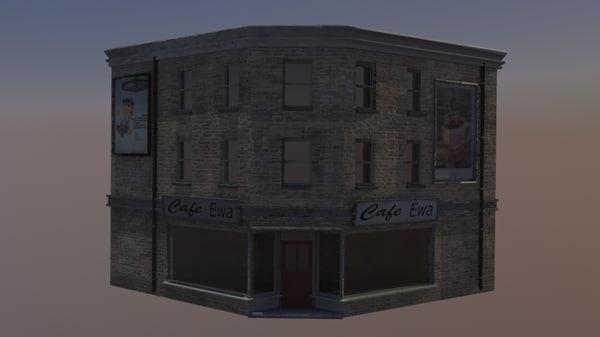 store cafe 3d obj