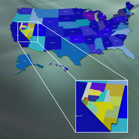 usa nevada counties 3d max