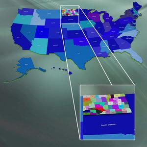 3ds max usa north dakota counties