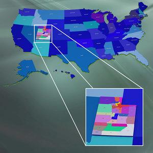 usa utah counties 3d model