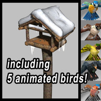 Birdhouse with 5 animated birds