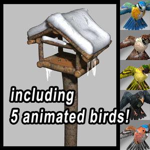 3d birdhouse animations 5 birds