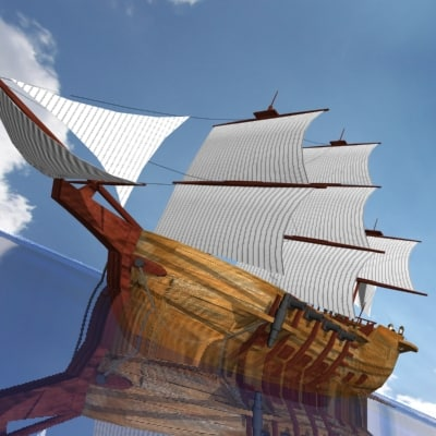 3d model med ship sea