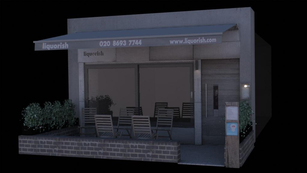 3d model bar shop street