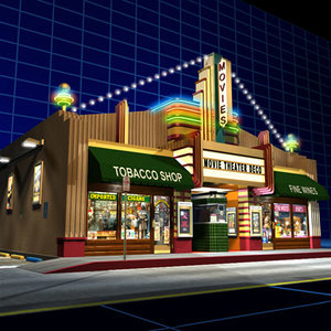 3d movie theater deco 01 model