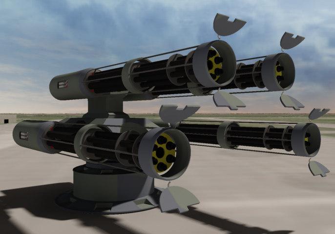 3d quad anti-aircraft turret platform
