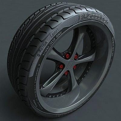 3dsmax drift alloy rim tire