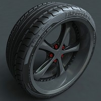 Alloy rim with detailed tire