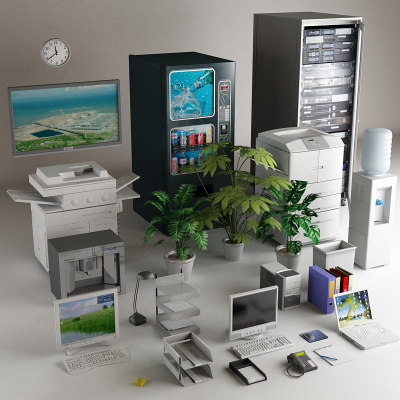 office clutter desk computers 3d model