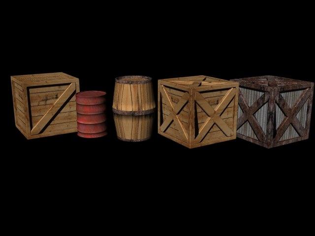 3d crates barrels