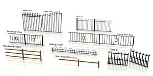 3d model fences walls