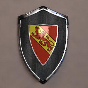 3d 3ds knight shield lion blazon