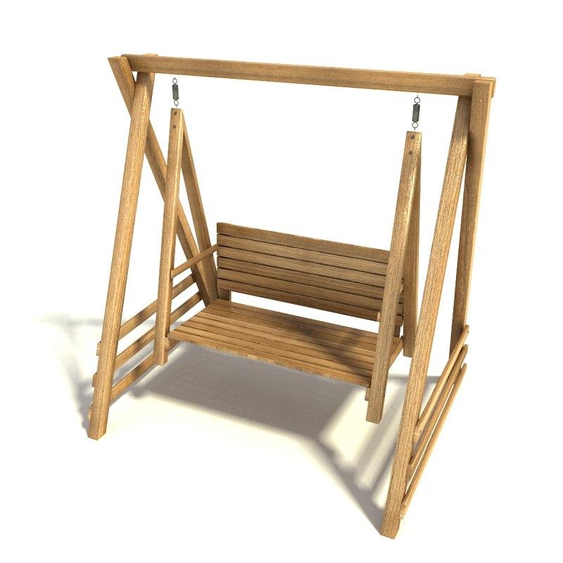 3dsmax wooden swing seat