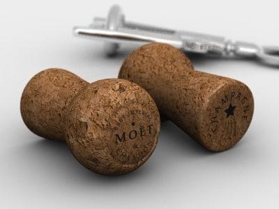 3d champagne cork model