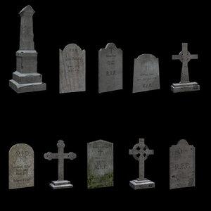 3d tombstones crypt graveyard