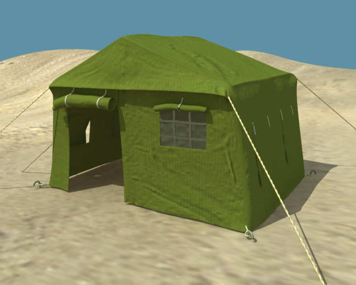 3d model of military tent