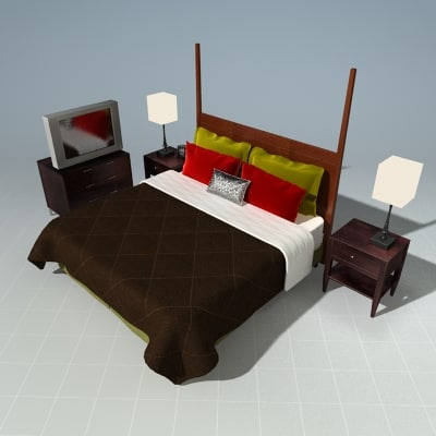 3d max bedroom bed night stand