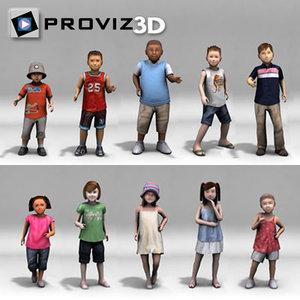 3d model people children