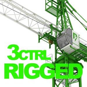 3d construction tower crane