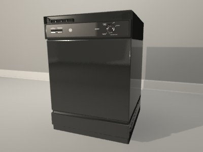 3d black ge dishwasher