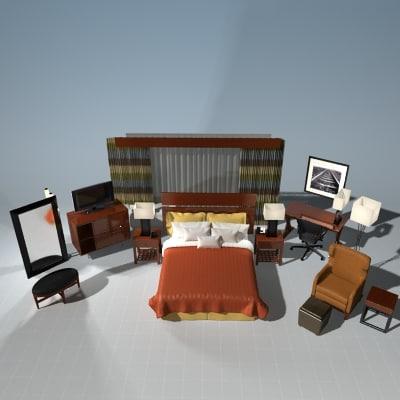 bedroom set bed 3d max