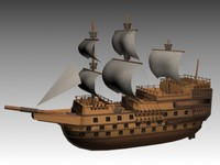 3-decked ship line 3d max
