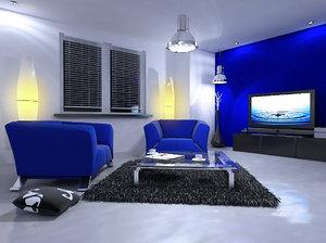modern living interior room 3d model