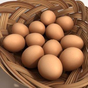 basket eggs 3d obj