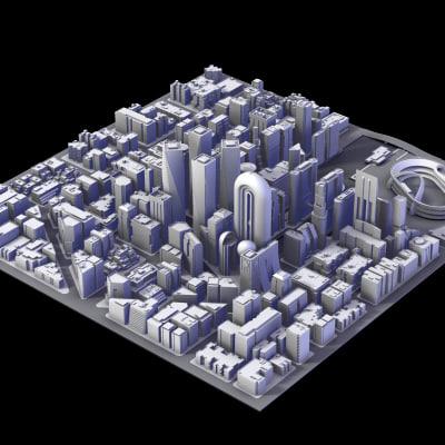 3d model city district iii